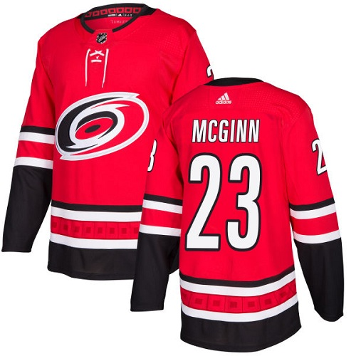 Adidas Men Carolina Hurricanes 23 Brock McGinn Red Home Authentic Stitched NHL Jersey