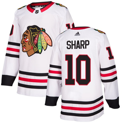 Adidas Men Chicago Blackhawks 10 Patrick Sharp White Road Authentic Stitched NHL Jersey