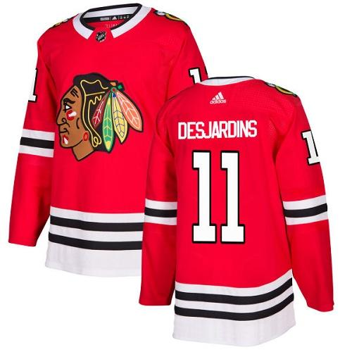 Adidas Men Chicago Blackhawks 11 Andrew Desjardins Red Home Authentic Stitched NHL Jersey