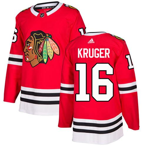 Adidas Men Chicago Blackhawks 16 Marcus Kruger Red Home Authentic Stitched NHL Jersey