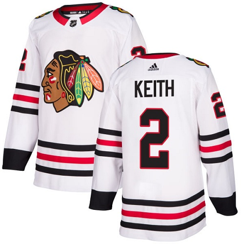 Adidas Men Chicago Blackhawks 2 Duncan Keith White Road Authentic Stitched NHL Jersey