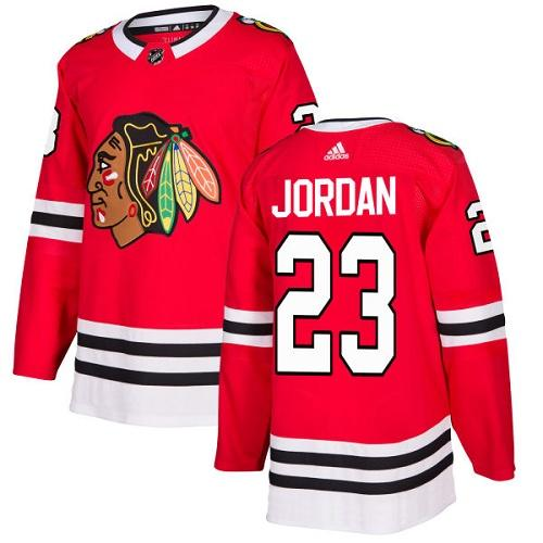 Adidas Men Chicago Blackhawks 23 Michael Jordan Red Home Authentic Stitched NHL Jersey