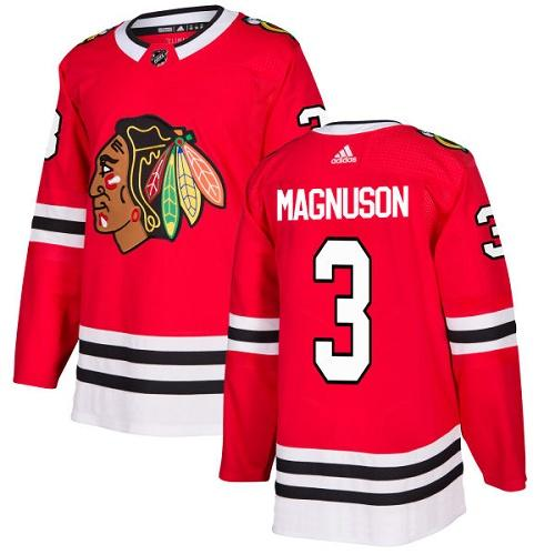Adidas Men Chicago Blackhawks 3 Keith Magnuson Red Home Authentic Stitched NHL Jersey