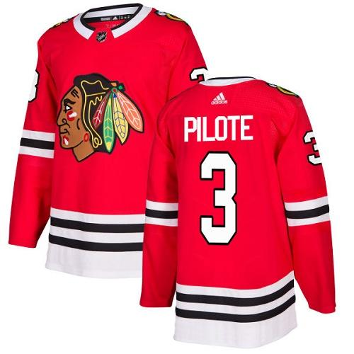 Adidas Men Chicago Blackhawks 3 Pierre Pilote Red Home Authentic Stitched NHL Jersey