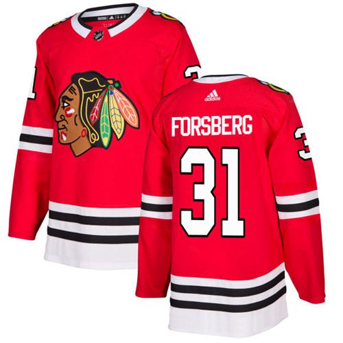 Adidas Men Chicago Blackhawks 31 Anton Forsberg Red Home Authentic Stitched NHL Jersey