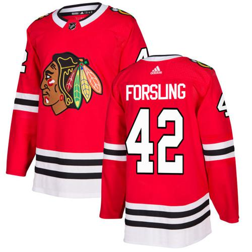 Adidas Men Chicago Blackhawks 42 Gustav Forsling Red Home Authentic Stitched NHL Jersey