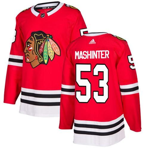 Adidas Men Chicago Blackhawks 53 Brandon Mashinter Red Home Authentic Stitched NHL Jersey