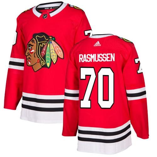 Adidas Men Chicago Blackhawks 70 Dennis Rasmussen Red Home Authentic Stitched NHL Jersey