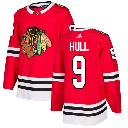 Adidas Men Chicago Blackhawks 9 Bobby Hull Red Home Authentic Stitched NHL Jersey