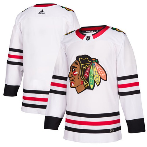 Adidas Men Chicago Blackhawks Blank White Road Authentic Stitched NHL Jersey