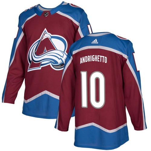 Adidas Men Colorado Avalanche 10 Sven Andrighetto Burgundy Home Authentic Stitched NHL Jersey