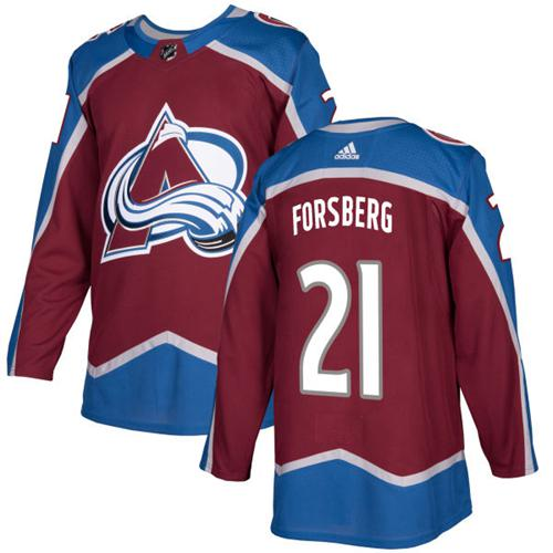 Adidas Men Colorado Avalanche 21 Peter Forsberg Burgundy Home Authentic Stitched NHL Jersey