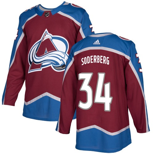 Adidas Men Colorado Avalanche 34 Carl Soderberg Burgundy Home Authentic Stitched NHL Jersey