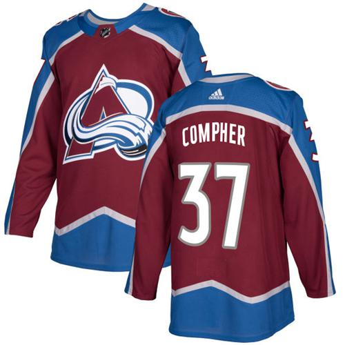 Adidas Men Colorado Avalanche 37 J.T. Compher Burgundy Home Authentic Stitched NHL Jersey