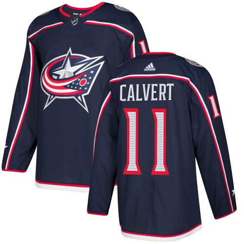Adidas Men Columbus Blue Jackets 11 Matt Calvert Navy Blue Home Authentic Stitched NHL Jersey
