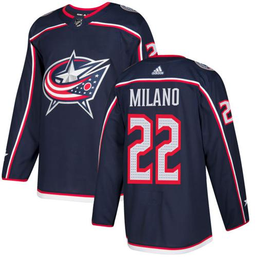 Adidas Men Columbus Blue Jackets 22 Sonny Milano Navy Blue Home Authentic Stitched NHL Jersey