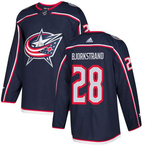 Adidas Men Columbus Blue Jackets 28 Oliver Bjorkstrand Navy Blue Home Authentic Stitched NHL Jersey