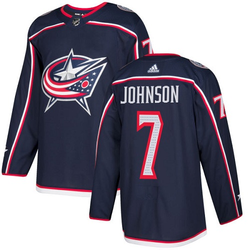 Adidas Men Columbus Blue Jackets 7 Jack Johnson Navy Blue Home Authentic Stitched NHL Jersey