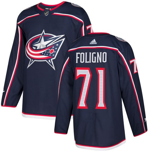 Adidas Men Columbus Blue Jackets 71 Nick Foligno Navy Blue Home Authentic Stitched NHL Jersey