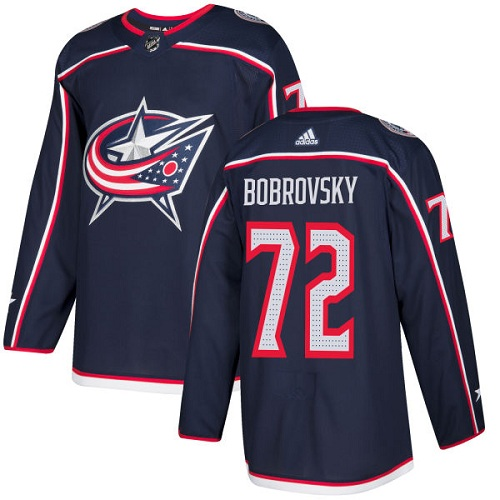 Adidas Men Columbus Blue Jackets 72 Sergei Bobrovsky Navy Blue Home Authentic Stitched NHL Jersey