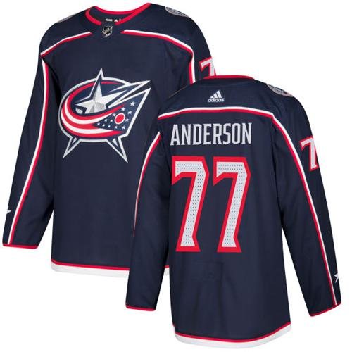 Adidas Men Columbus Blue Jackets 77 Josh Anderson Navy Blue Home Authentic Stitched NHL Jersey