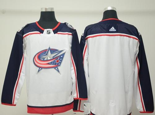 Adidas Men Columbus Blue Jackets Blank White Road Authentic Stitched NHL Jersey