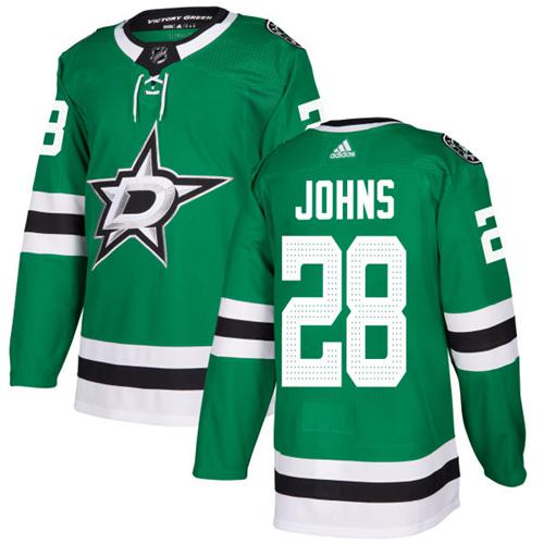Adidas Men Dallas Stars 28 Stephen Johns Green Home Authentic Stitched NHL Jersey
