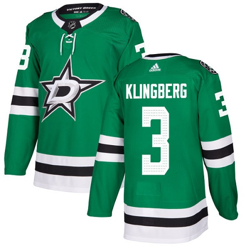 Adidas Men Dallas Stars 3 John Klingberg Green Home Authentic Stitched NHL Jersey