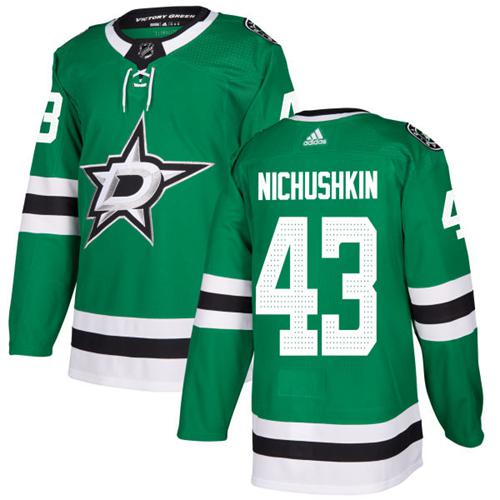 Adidas Men Dallas Stars 43 Valeri Nichushkin Green Home Authentic Stitched NHL Jersey