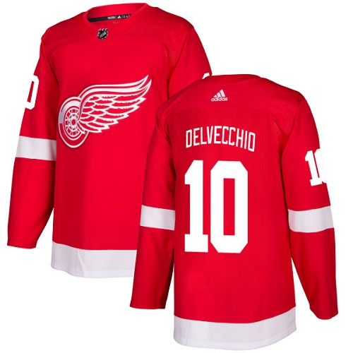 Adidas Men Detroit Red Wings 10 Alex Delvecchio Red Home Authentic Stitched NHL Jersey