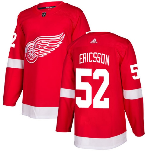 Adidas Men Detroit Red Wings 52 Jonathan Ericsson Red Home Authentic Stitched NHL Jersey