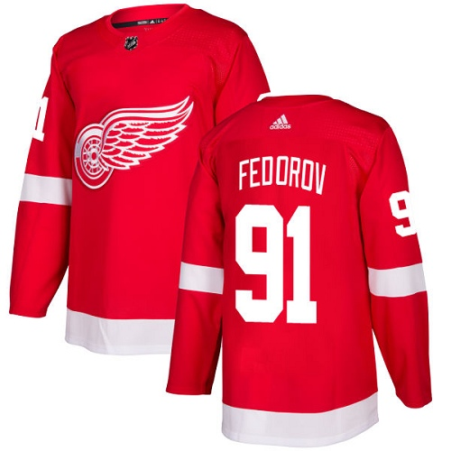 Adidas Men Detroit Red Wings 91 Sergei Fedorov Red Home Authentic Stitched NHL Jersey