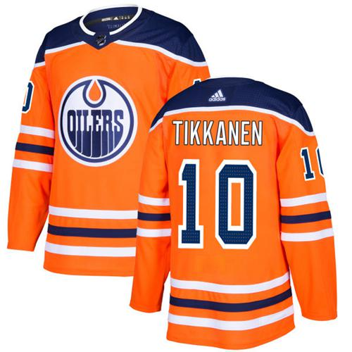 Adidas Men Edmonton Oilers 10 Esa Tikkanen Orange Home Authentic Stitched NHL Jersey