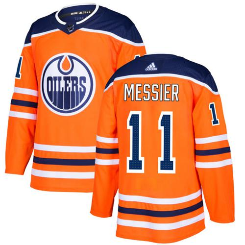 Adidas Men Edmonton Oilers 11 Mark Messier Orange Home Authentic Stitched NHL Jersey