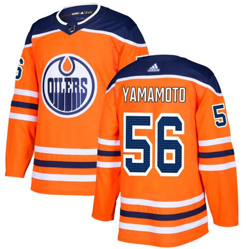 Adidas Men Edmonton Oilers 56 Kailer Yamamoto Orange Home Authentic Stitched NHL Jersey