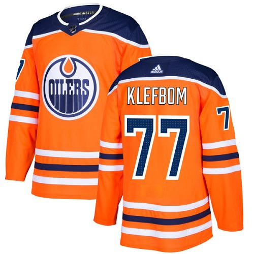 Adidas Men Edmonton Oilers 77 Oscar Klefbom Orange Home Authentic Stitched NHL Jersey