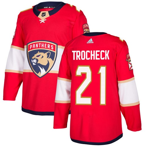 Adidas Men Florida Panthers 21 Vincent Trocheck Red Home Authentic Stitched NHL Jersey