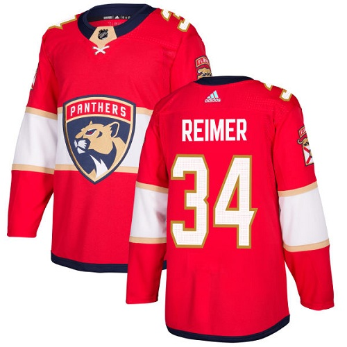 Adidas Men Florida Panthers 34 James Reimer Red Home Authentic Stitched NHL Jersey