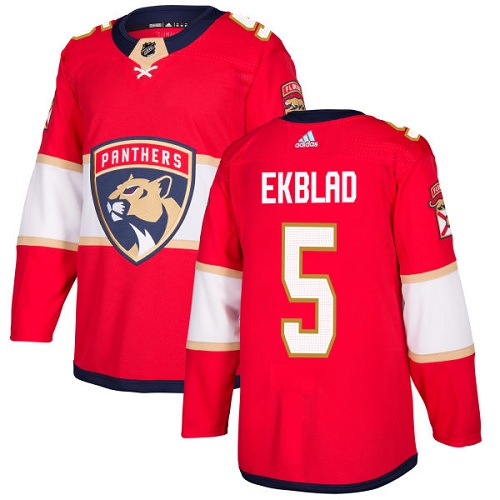 Adidas Men Florida Panthers 5 Aaron Ekblad Red Home Authentic Stitched NHL Jersey