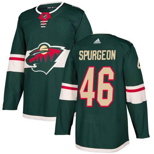 Adidas Men Minnesota Wild 46 Jared Spurgeon Green Home Authentic Stitched NHL Jersey