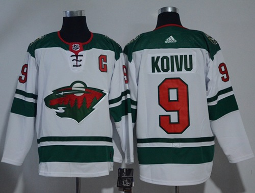 Adidas Men Minnesota Wild 9 Mikko Koivu White Road Authentic Stitched NHL Jersey