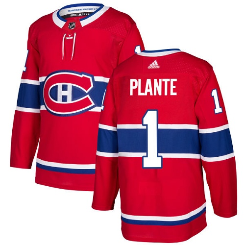 Adidas Men Montreal Canadiens 1 Jacques Plante Red Home Authentic Stitched NHL Jersey