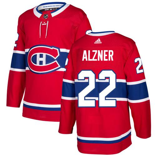 Adidas Men Montreal Canadiens 22 Karl Alzner Red Home Authentic Stitched NHL Jersey