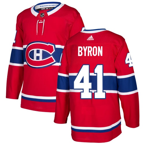 Adidas Men Montreal Canadiens 41 Paul Byron Red Home Authentic Stitched NHL Jersey