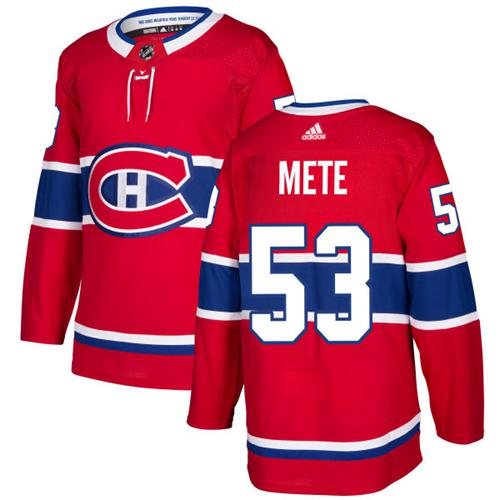 Adidas Men Montreal Canadiens 53 Victor Mete Red Home Authentic Stitched NHL Jersey