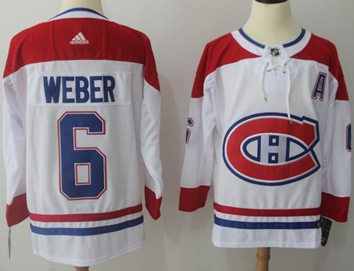 Adidas Men Montreal Canadiens 6 Shea Weber White Road Authentic Stitched NHL Jersey
