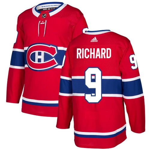 Adidas Men Montreal Canadiens 9 Maurice Richard Red Home Authentic Stitched NHL Jersey