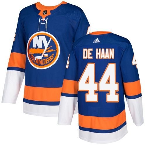 Adidas Men NEW York Islanders 44 Calvin De Haan Royal Blue Home Authentic Stitched NHL Jersey