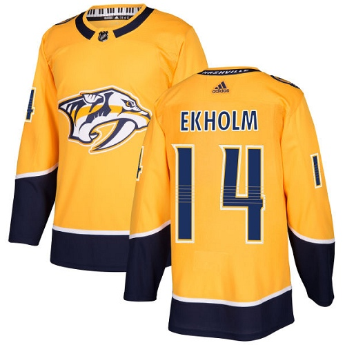 Adidas Men Nashville Predators 14 Mattias Ekholm Yellow Home Authentic Stitched NHL Jersey