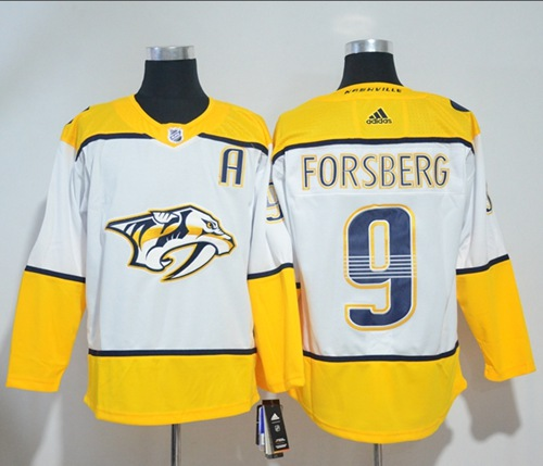 Adidas Men Nashville Predators 9 Filip Forsberg White Road Authentic Stitched NHL Jersey
